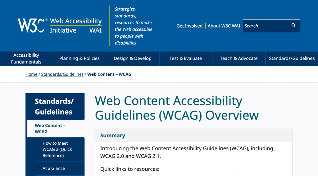 Decorative screen shot of W3C page