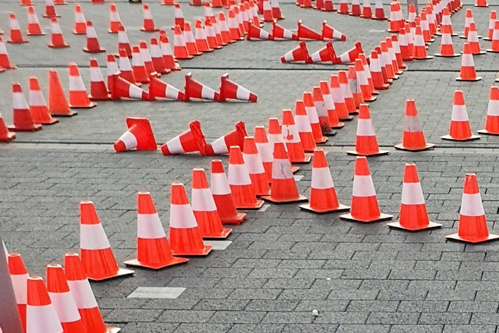 Traffic cones symbolizing guidelines